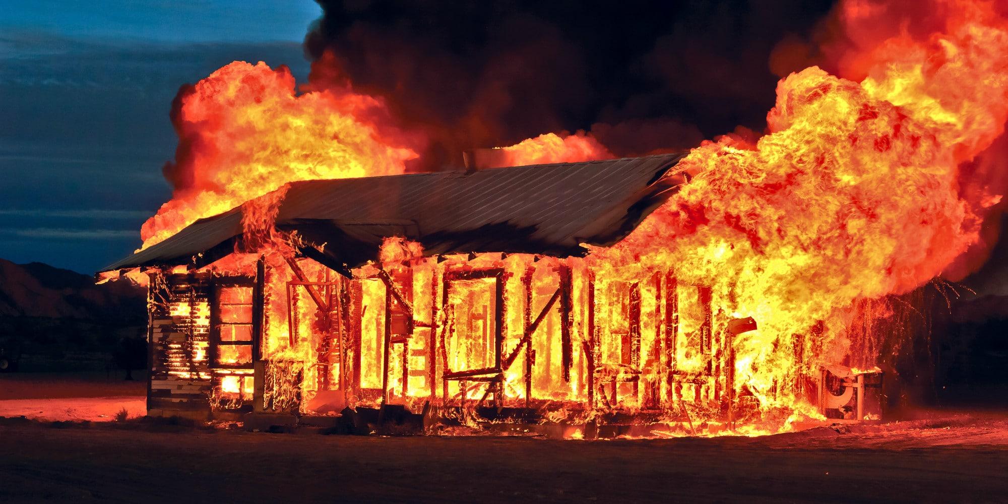 USA, Arizona, Maricopa County, Gila Bend, Burning Down House